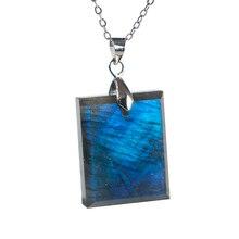 Natural Blue Light Labradorite Gemstone Women Men Pendant 24x17x9mm Rectangle Shape Crystal Moonstone AAAA