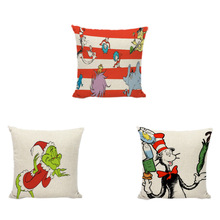 Naughty Cartoon Character Dr. Seuss Cushion Cover Animal Collection Living Room Lounge Party Home Decorative Pillowcase
