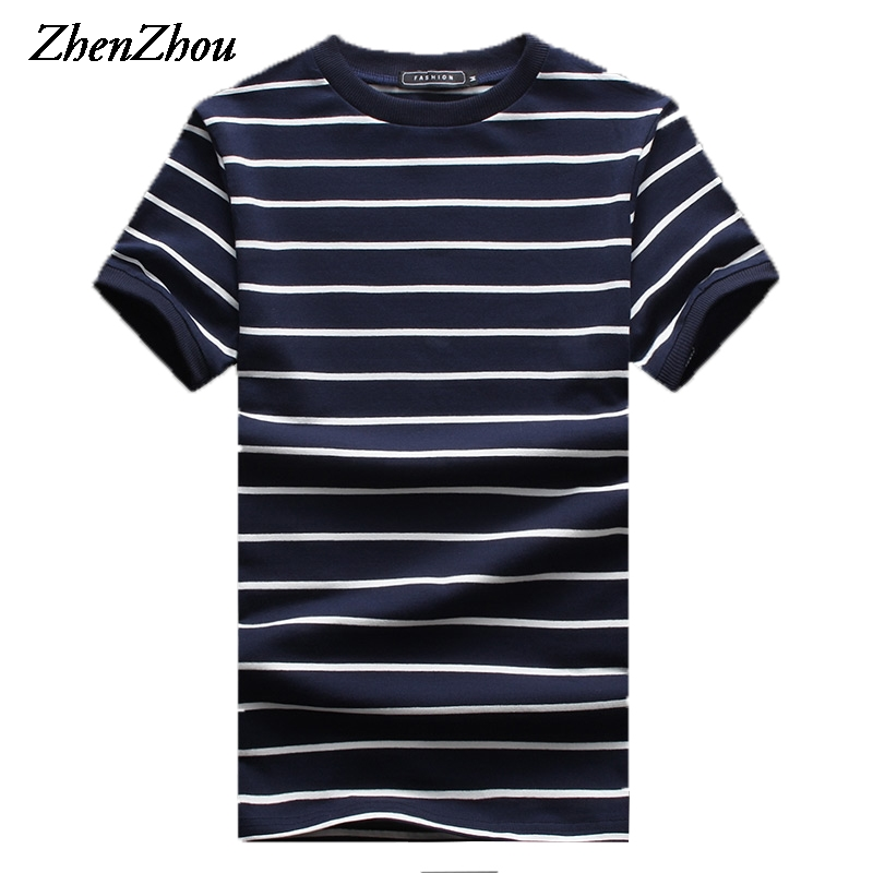 Zhenzhou 5xl striped t shirt men short sleeve tshirt for Mens short sleeve patterned shirts