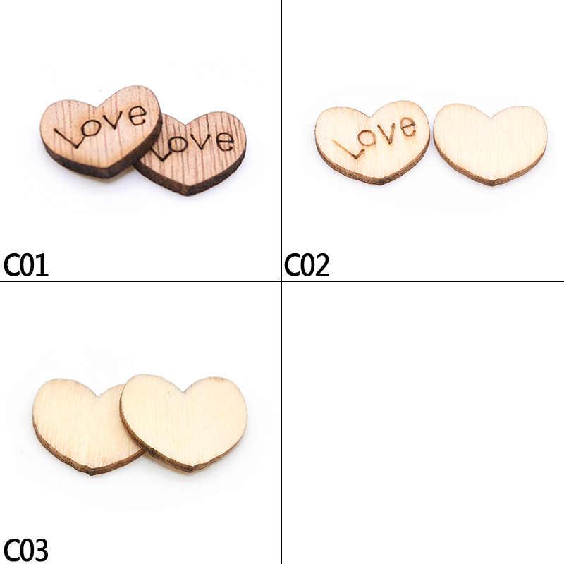 100pcs/lot Heart-shaped Wood Chip DIY Crafts Lettering Love Wood Block Scraping Supplies Handmade Graffiti Button Wedding Deco