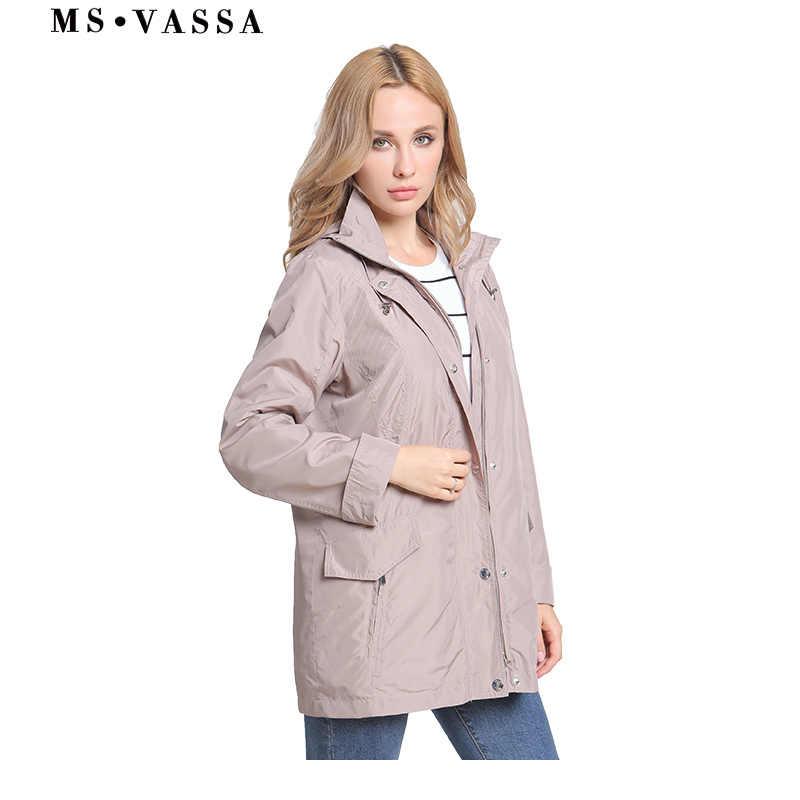 MS VASSA женские куртки 2019 новые весенние женские пальто размера плюс 6XL 10XL с капюшоном отложной воротник куртка винтажная верхняя одежда