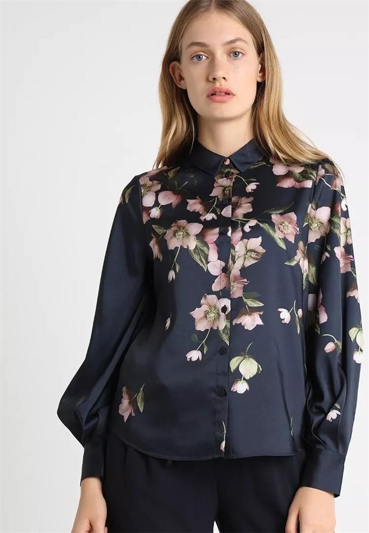Women Shirt 2019 New Retro Printed Pleated Lantern Sleeve Shirt