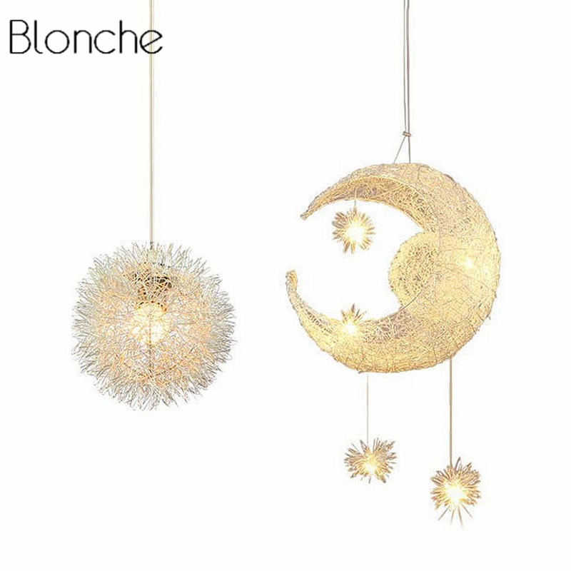 LED Moon&Star Pendant Lights Kid Lighting Fixture Gift Child Bedroom Pendant Lamp Aluminum Wire Modern Hanglamp Home Decoration d200mm half white glass ball lampshade fabric wire pendant lamp fixture brass drop modern home lighting bedroom cafe decoration
