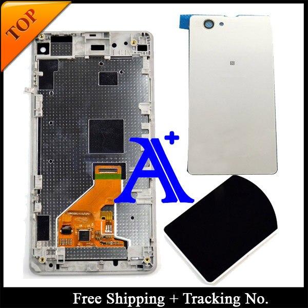 100% de teste para Sony Xperia Z1 mini LCD Z1 Compact LCD tela de toque digitador assembléia quadro + tampa traseira preto / branco