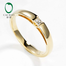 Caimao Solid 9kt Gold Tension Set Natural Princess Cut Diamond Engagement Wedding Ring for Unisex Simple Design