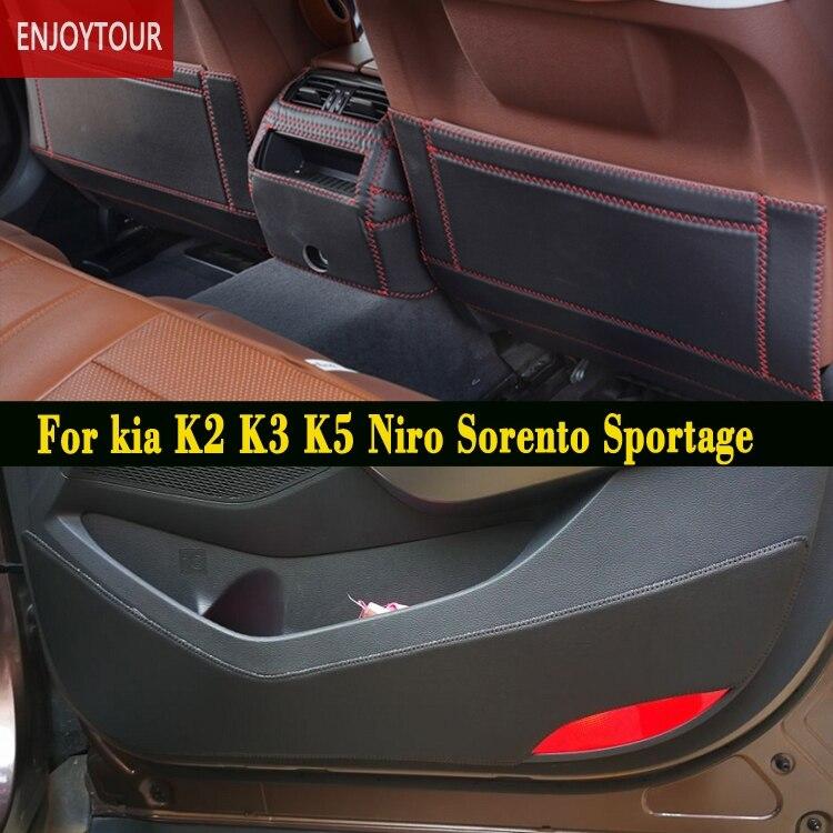 Tapis de voitures avant arrière porte Siège Anti-coup mat Accessoires Pour KIA Forte K2 K3 K5 Optima Niro Sorento Sportage KX5