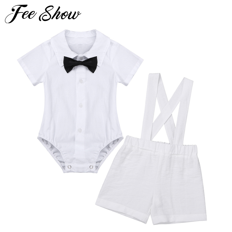 Infant Baby Boys Christening Baptism Outfit Cross Collar Vest Pants Set