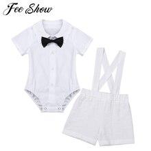 Наряд для крещения для маленьких мальчиков; комбинезон с лацканами и короткими рукавами с галстуком-бабочкой; льняной комплект на подтяжках; вечерние комплекты одежды для дня рождения и свадьбы