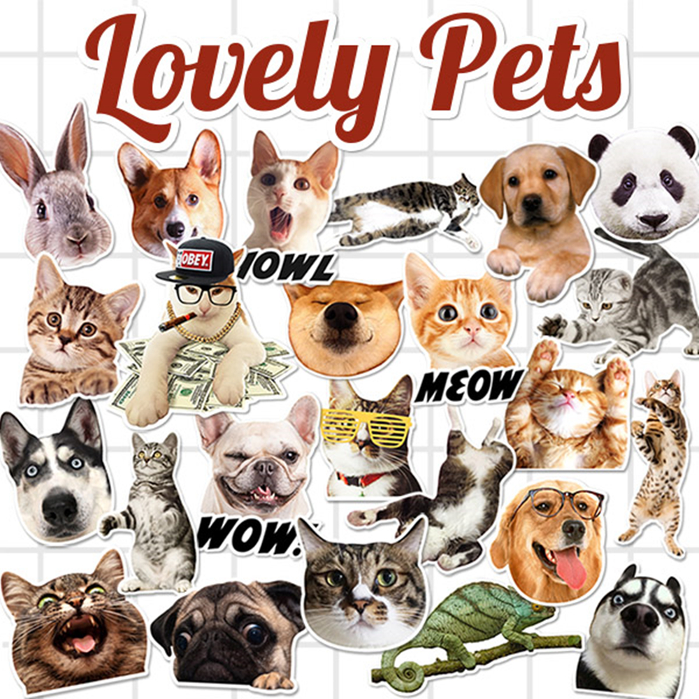 24Pcs/Lot Lovely Pets My favorite Cat Dog On Laptop Stickers For Skateboard Luggage Macbook Notebook Fridge Kids Toy Car Styling