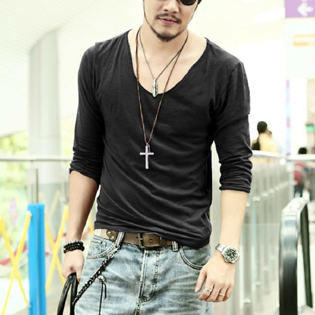 cc21e5386682 2015 Summer Hot Sale Cool Fashion Men s Clothing V neck Long .