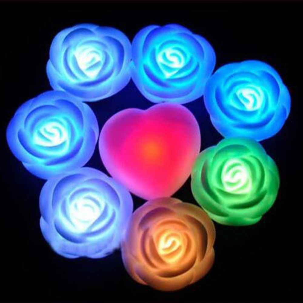 7 Colors Changing Rose Flower LED Light Night Candle Light Lamp Romantic for Wedding Bar Party