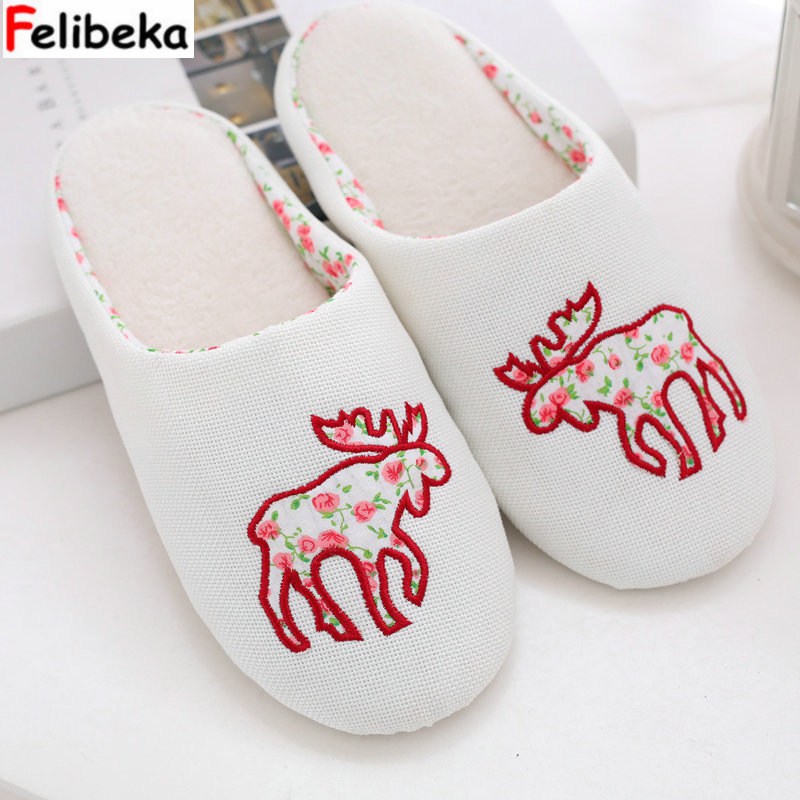 christmas at tiffany s Cartoon Christmas deer slippers for women at home The floor slippers winter women shoes