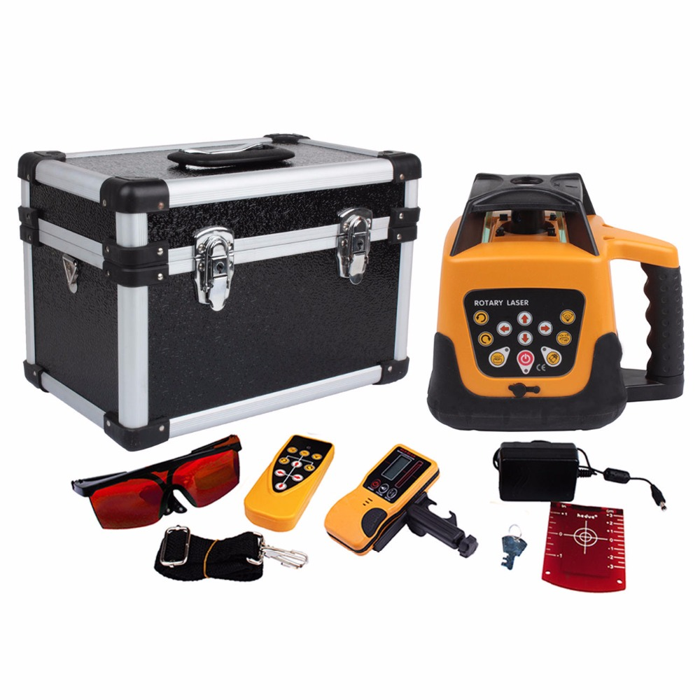 (Ship from USA) Amonstar Outdoor Automatic Self leveling Rotary Laser Level 500m Range Remote Control Red beam