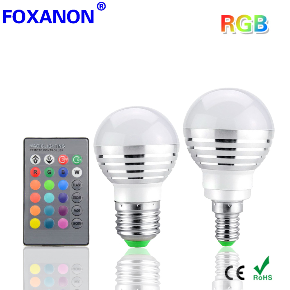 Foxanon Led RGB Bulb E27 E14 3W 85 265V LED Lamp Lamps 16 Colors Changing magic Light 24key IR Remote Control lighting night