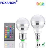 Foxanon Led RGB Bulb E27 E14 3W 85 265V LED Lamp Lamps 16 Colors Changing magic Light 24key IR Remote Control lighting night