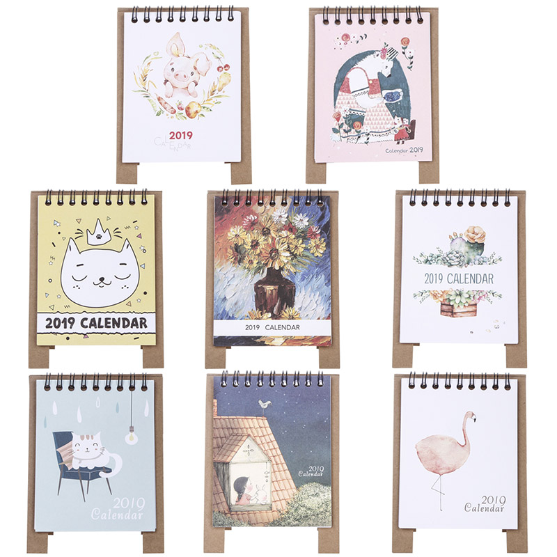 2019 New Kawaii Cartoon Table Calendar 12.5 And Great Variety Of Designs And Colors 9.5cm Creative Desk Vertical Paper Multi-function Timetable Plan Notebook Famous For High Quality Raw Materials Full Range Of Specifications And Sizes