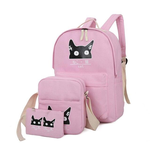 2016 New Canvas Girl School Bags For Teenagers backpack women Three piece  suit shoulder bags 3 Pcs Set rucksack mochila knapsack fd8c134e313e7