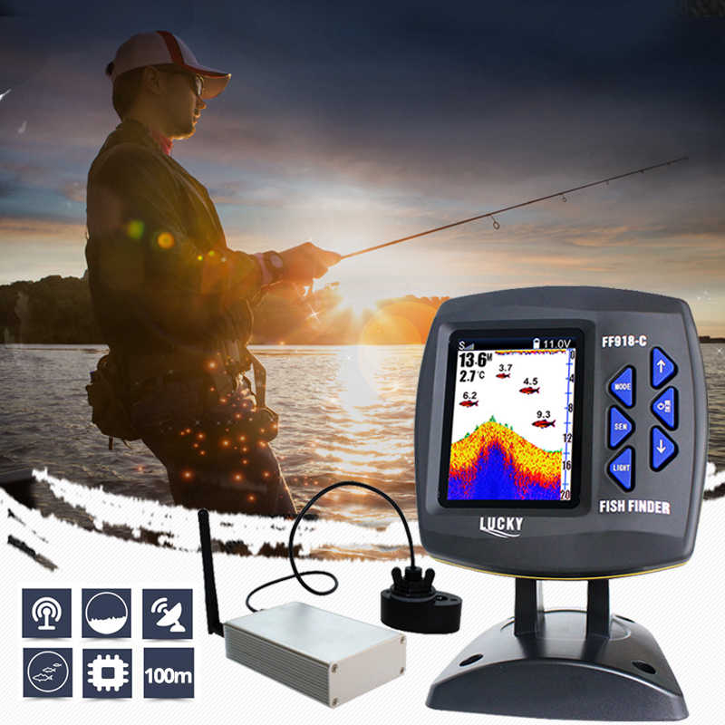 Lucky Remote Control Fish Finder Echo sounder FF918-CWLS Color Wireless Sensor for Fishing 300m/980ft Operating Fishfinder #C5