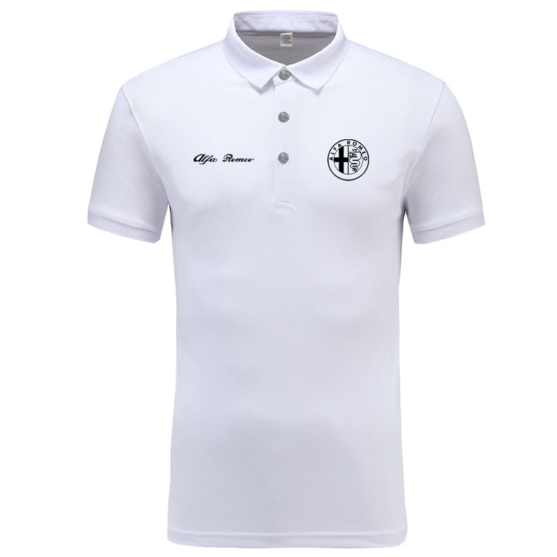 Alfa Romeo logo Polo Shirt Men Brand Clothes Solid Color Polos Shirts Casual Cotton Short Sleeve Polos
