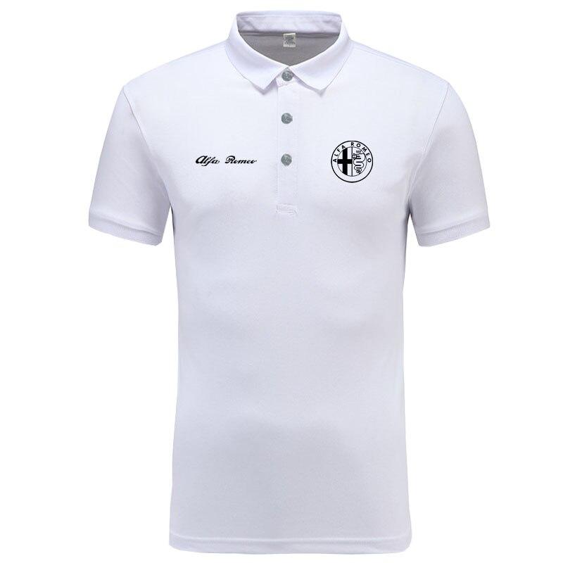 Alfa Romeo logo   Polo   Shirt Men Brand Clothes Solid Color   Polos   Shirts Casual Cotton Short Sleeve   Polos