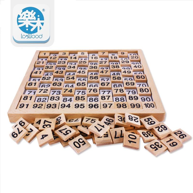 Montessori Holz Lernspielzeug 1-100 digitale kognitive Mathematik Spielzeug Lehre Logarithmus Version Kind früh Lernen