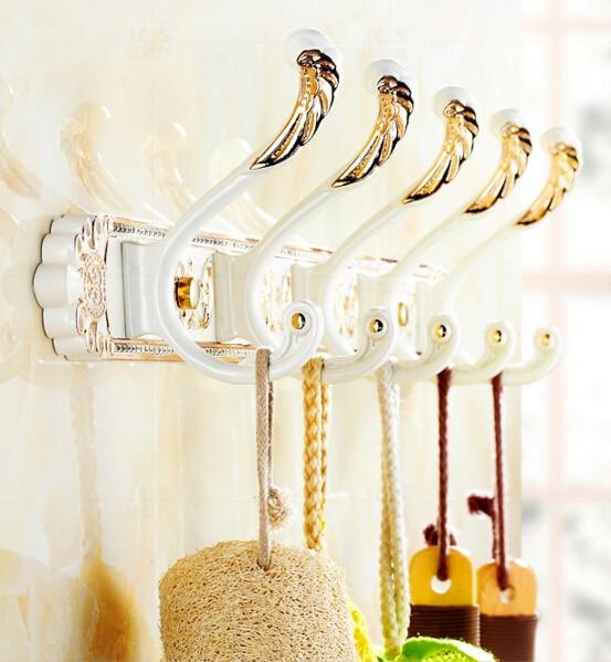 Fashion quality total brass antique gold bathroom 5 robe hooks kitchen hanger bathroom accessories European design