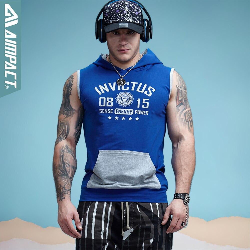 Aimpact Bodybuilding sin mangas con capucha de algodón para hombre Tank Tops entrenamiento Fitness marca de ropa Sportive Muscle Shirts Tees para hombres