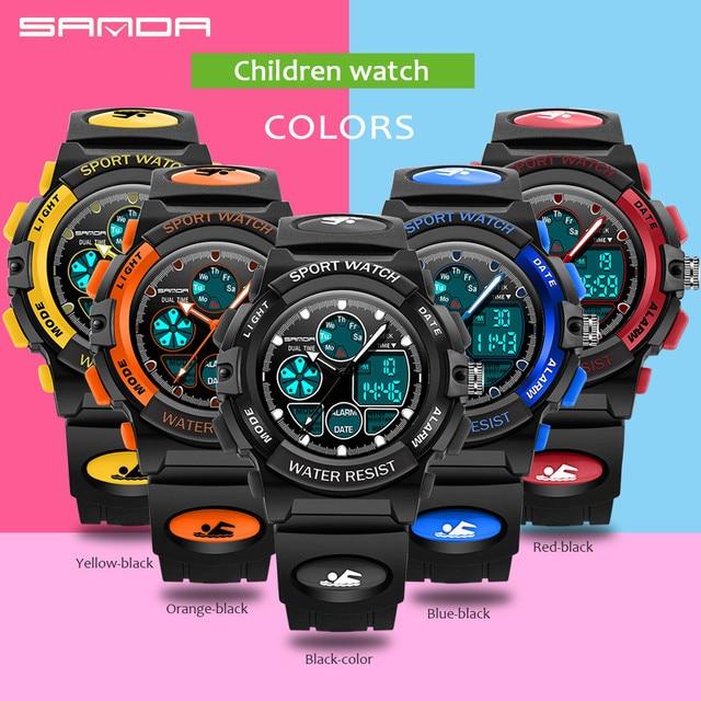 Alarm Clock SANDA Children Sports Wrist Watches Kids LED Digital Quartz Military Watch Boy Girl Student Multifunction Watch 2017