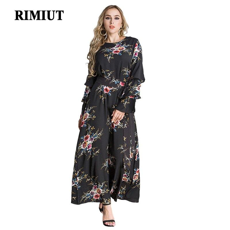 RIMIUT Plus Taille M-7XL Femmes Causal Vintage Fleur Impression Longue Longueur Parti Robes Graisse MM Femelle Élégant Dame Lâche Robe