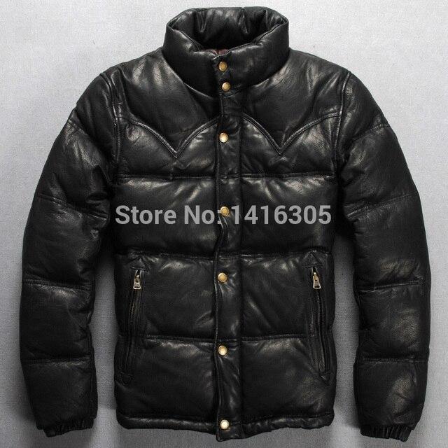 100% chèvre 2014 Mode hommes vers le bas manteau noir jaune véritable en  cuir 566606e8887
