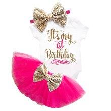 61025598f9b8af Mijn Baby 1st Eerste Verjaardag Peuter Tutu Gouden Jurk voor meisje Doopsel  Puffy Cake Smash Outfits