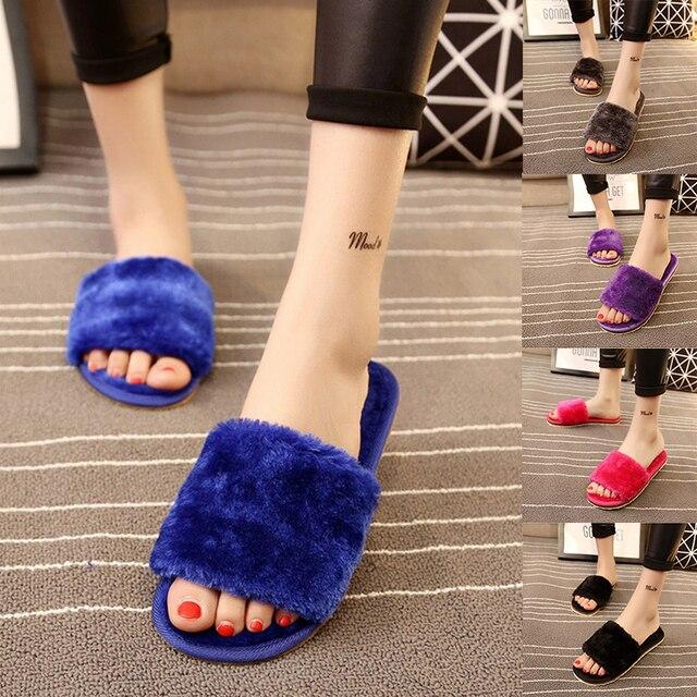 9d93c0e9437 Furry Slippers Flat Faux Fur Women Fashion Leisure Open Toe Women Indoor  Flat Flip Flops Fur