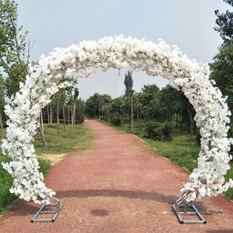 Upscale White Wedding Centerpieces Cherry Blossoms With Frame Arch Door Set For Holiday Decoration Shooting Props Free Shipping