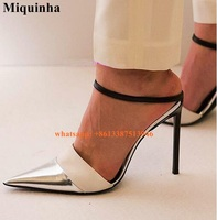 Office Ladies Formal Pointed Toe Patchwork Color Pumps Sexy Women High Heels Silver Toe Dress Shoes