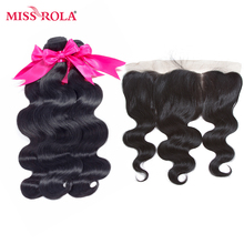 Miss Rola Hair pre-colored Brazilian Body Hair Wave 3 Bundles with 13*4 lace frontal closure 100% Human Hair Weaving