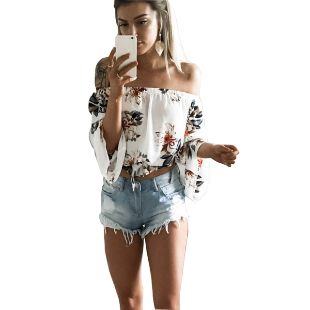 366b6e9ea1c 2018 Women Off Shoulder T-Shirt White Sexy Full Flare Sleeve Floral Print  Tshirt Loose Crop Tops Casual Tee Beach Cute Clothing
