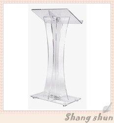 Tanie szkła organicznego mównica Podium przezroczysty akryl Podium ambona mównica proste kościół ambona mównica