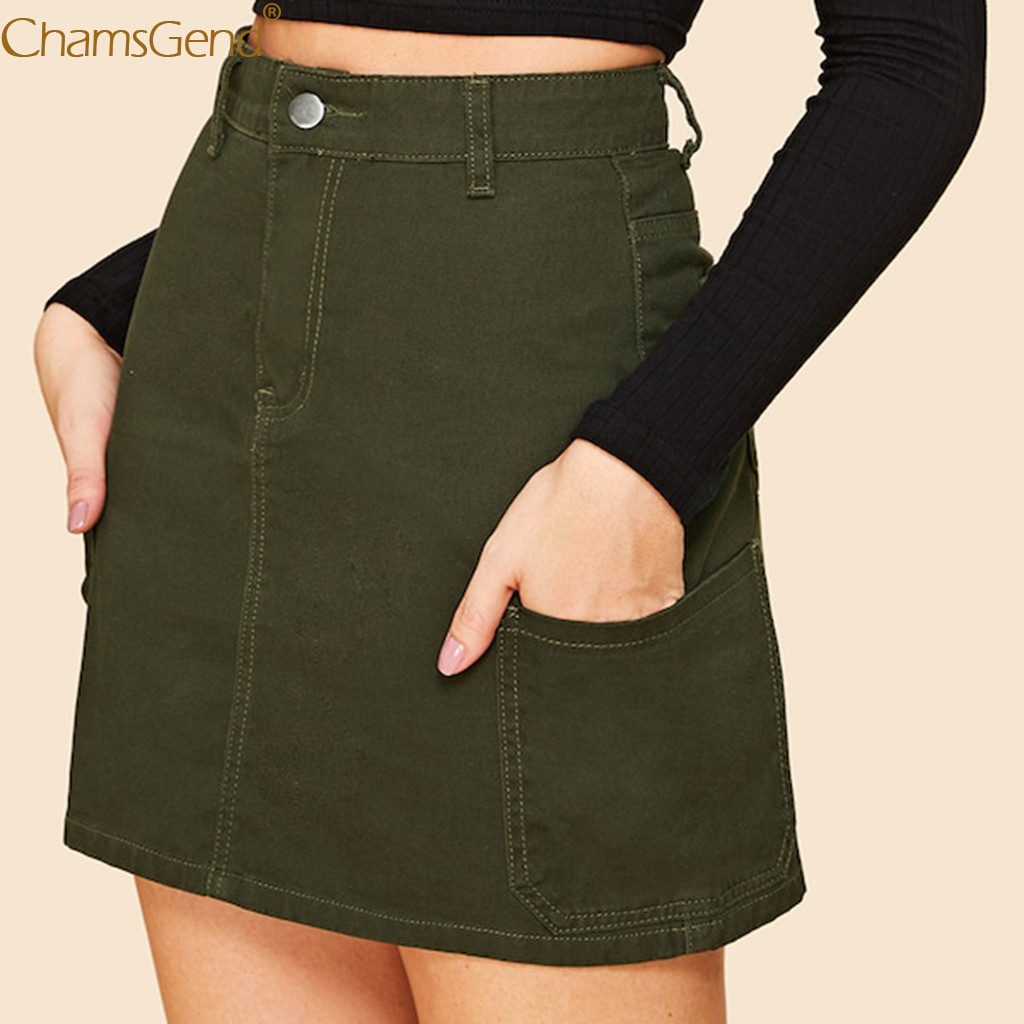 Green Cotton Pencil Skirts Womens Skirt With Pockets Skirts Womens Plus Size High Waist Skirt Summer Style Single Button Apr