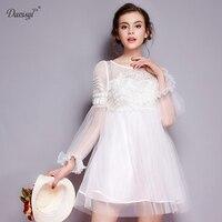לבן אלגנטי ילדה טוטו mesh פרחוני רקמת dress נשים מפלגה לנשף שמלות בת ים קצר כלה bridesmaide באיכות גבוהה