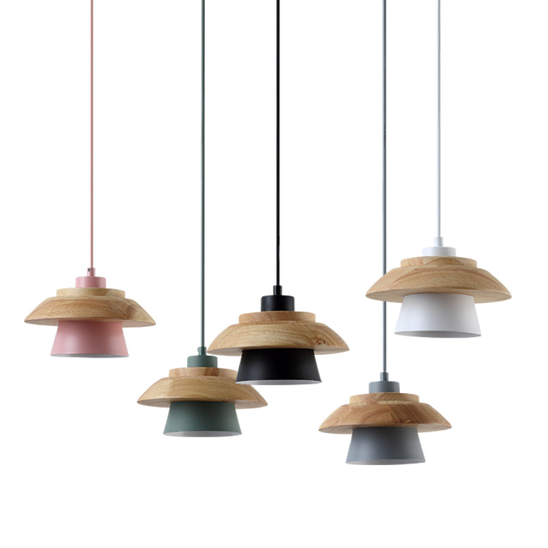Simple Solid Wood Pendant Lamp Aluminum Lampshade Single Head Suspended lamp Dining Bar Nordic Macaron Droplight lights fixture christmas bell enamel pendant necklace