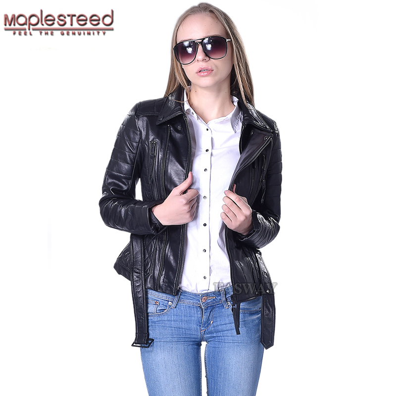 e9f330b523adf Factory Quilted Leather Jacket Women 100% Real Sheepskin Fashion Brand Slim  Fit Black Women's Genuine
