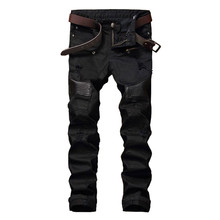 NEW Hi-Street Men Ripped Biker Jeans Pants Leather Patchwork Distressed Denim Slim Fit Straight Trousers Red White Black Jean(China)