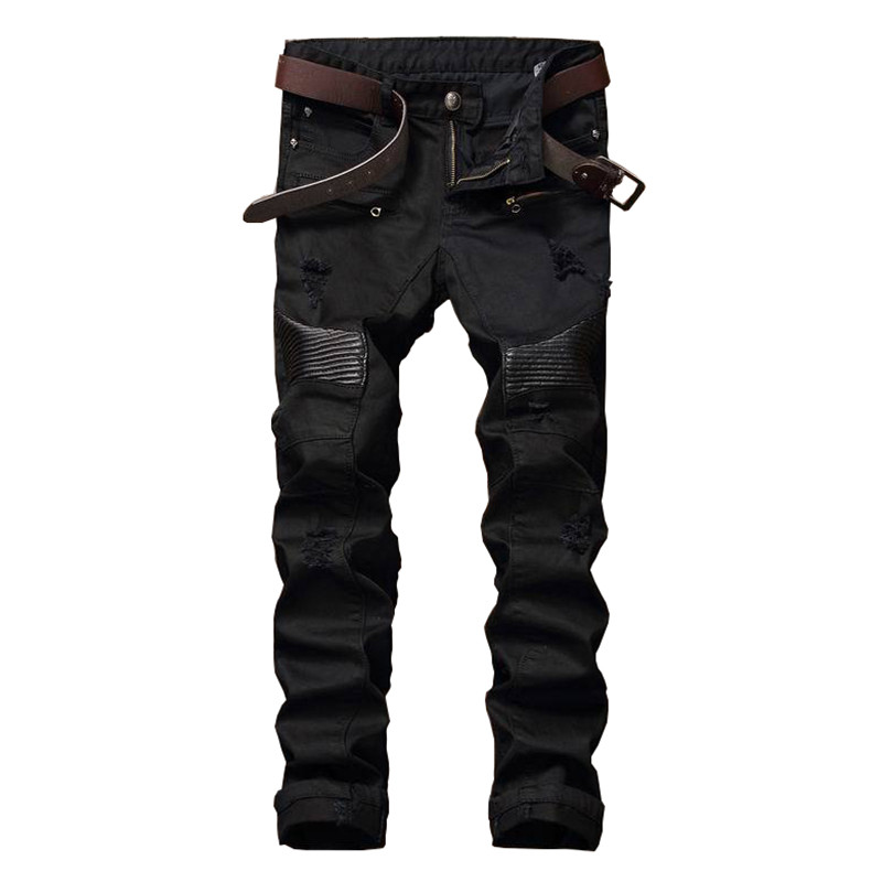 NEW Hi-Street Men Ripped Biker Jeans Pants Leather Patchwork Distressed Denim Slim Fit Straight Trousers Red White Black Jean 2017 fashion patch jeans men slim straight denim jeans ripped trousers new famous brand biker jeans logo mens zipper jeans 604