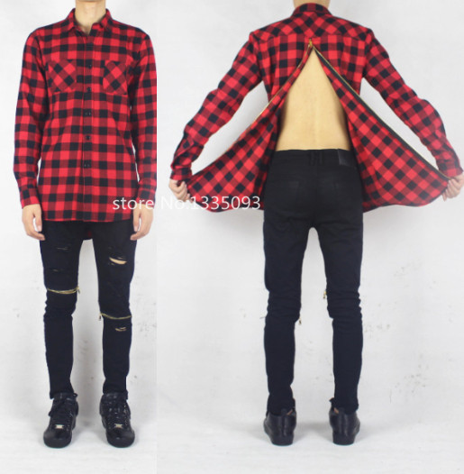 Men plaid flannel shirt cool oversized back Gold zipper hip hop extended top hba pyrex casual leather tee tyga brand - store No 1335093