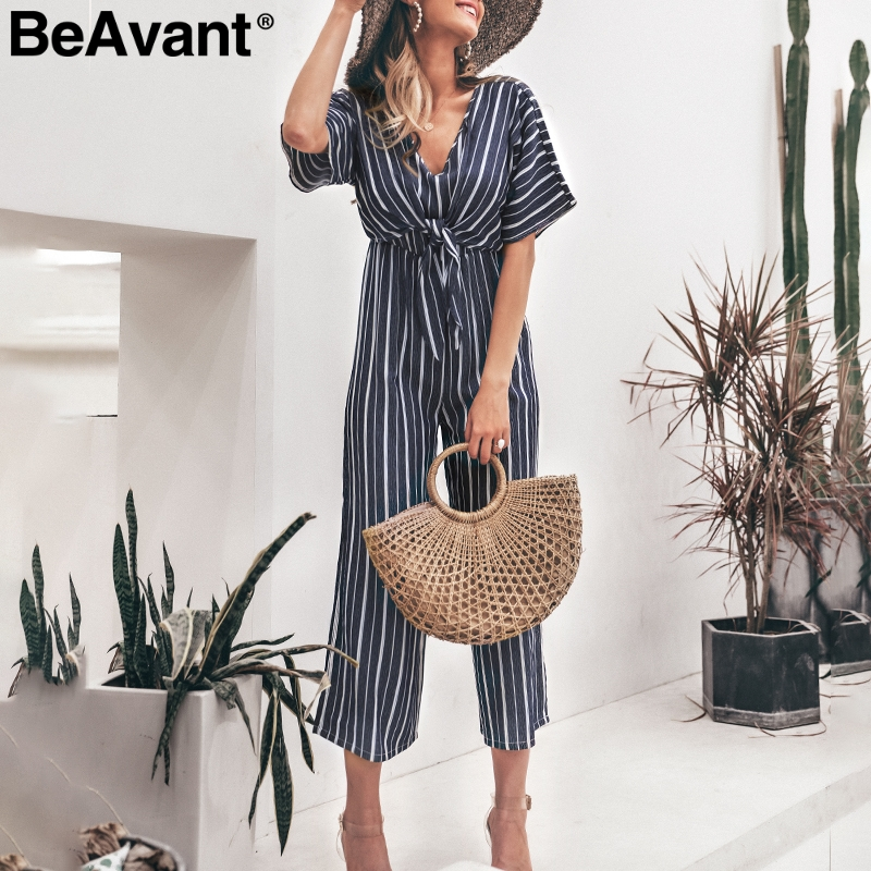 BeAvant Casual striped long summer   jumpsuit   women High waist sash office ladies rompers overall Holiday beach wide leg playsuit