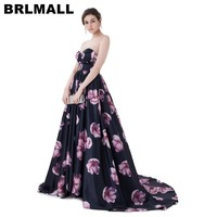 BRLMALL Hợp Thời Trang In Floral Prom Dress 2017 Stunning Sweetheart Backless Dài Evening Dress Satin Formal Gown robe de soiree