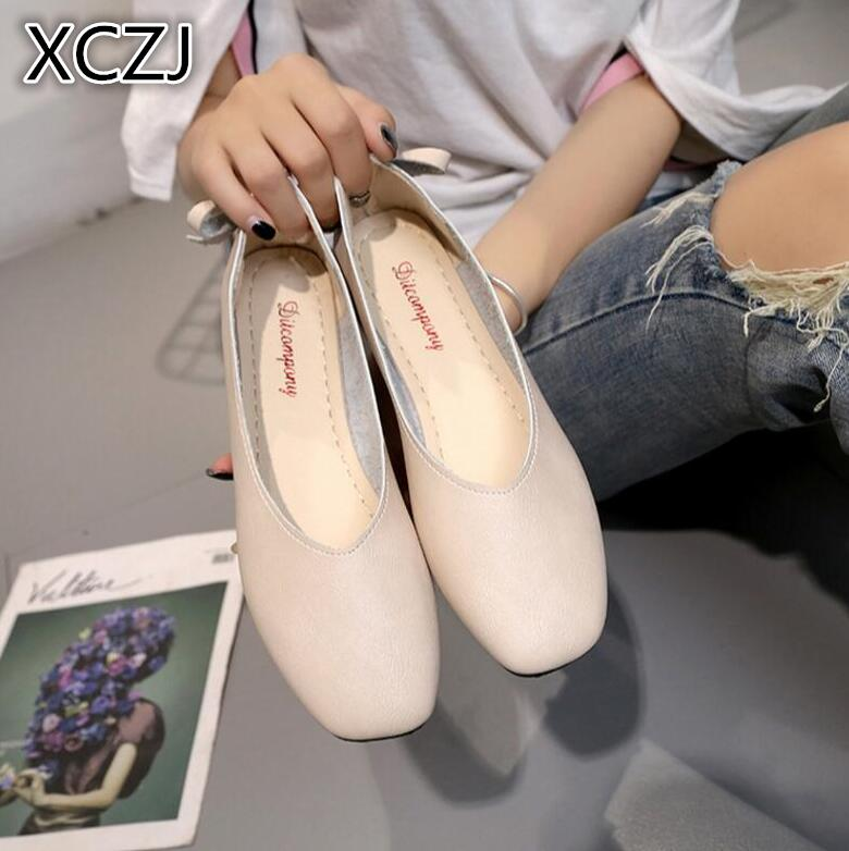 XCZJ Retro Peas shoes square head shallow mouth with flat shoes women summer 2018 new Korean wild women's shoes 2015 summer shallow mouth of canvas shoes women shoes a pedal lazy shoes casual flat white shoes korean wave shoes