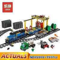 LEPIN 02008 City Series The Cargo Train Set Building Blocks Bricks RC Model Bricks Train Children