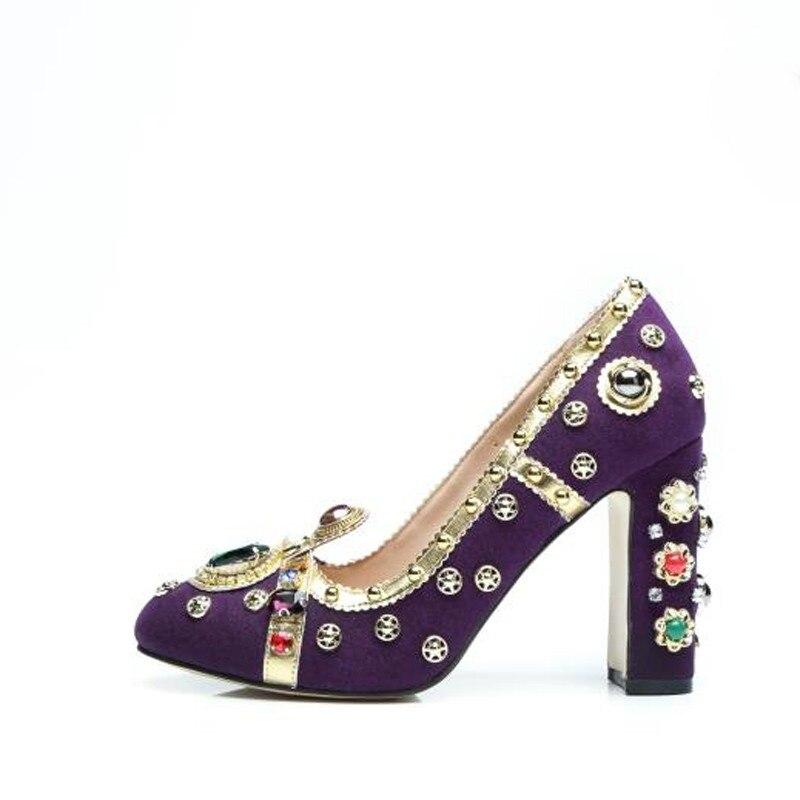 Talons Knsvvli Chaussures Piste En yellow De Cristal Hauts Cloutés Strass Mariage Nouveau Mujer Femmes red Pompes Femme Chunky Zapatos Purple Plein Partie wwqrnExvB4