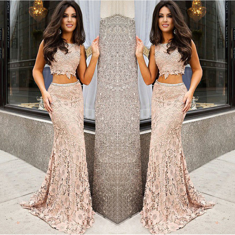 5ff9c97665 2017 New Fashion Trend 2 Pieces Lace Nude Prom Dress Appliques Prom Gown  Long Formal Gowns Beaded Dresses Vestidos De Formatura